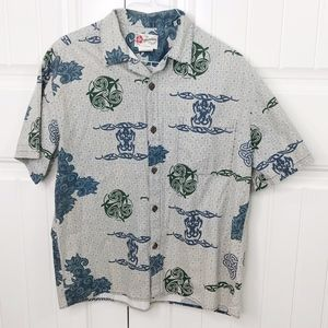 Hilo Hattie Hawaiian Batik Tattoo Print Shirt